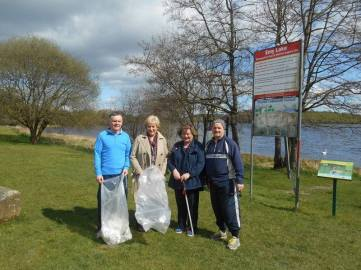 Senator Robbie Gallagher and Minister Heather Humphries at Emylough for the clean-up last Saturday